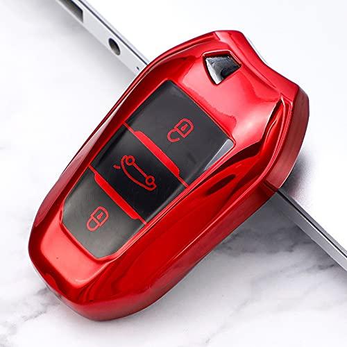 Pouitt Nueva Cubierta de Teclas de Coche de TPU Soft TPU Funda Completa para Peugeot 308 408 508 2008 3008 4008 5008 Citroen C4 C4L C6 C3-XR Accesorios de cáscara Inteligente (Color Name : E Red)