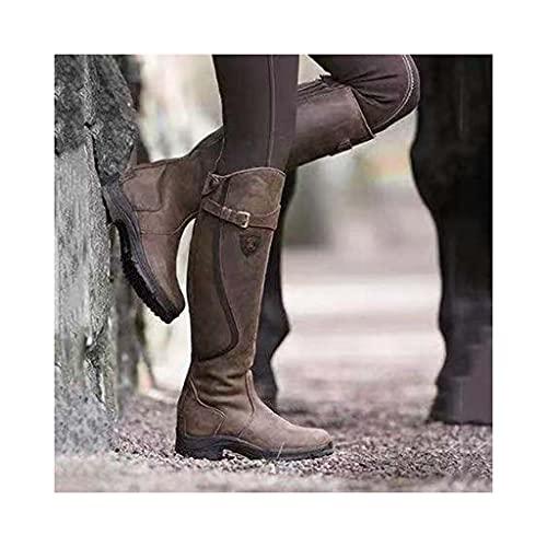 SJDFK Botas Altas hasta la Rodilla Occidentales para Mujer,Zapatos ecuestres Cuero de tacón bajo,Zapatos ecuestres con Punta Redonda, Zapatos Motocicleta Caballero Gran tamaño,Brown-41