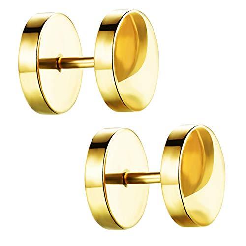 Ditz Damen Herren Ohrstecker Edelstahl Platte mit Kreis zum Schrauben Fake Plug Piercing Ohr Tunnel Doppel Ohrringe Rund Schlicht Gold 14mm