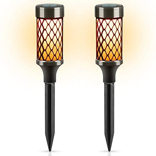 Lámpara solar para jardín, IP65, resistente al agua, luz blanca cálida, LED, lámpara iluminación decorativa con estaca, exterior, balcón, paisaje, césped, aceras (2 unidades)