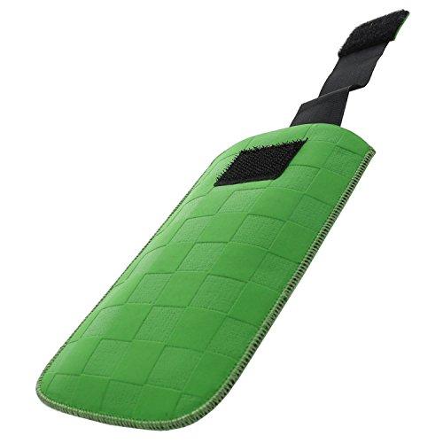 XiRRiX Handytasche mit Ausziehhilfe - M passend für Artfone CS182 - Emporia Pure V25 Euphoria V50 - Nokia 110 2019-3310 2017 150 216 - Swisstone BBM 320 320C - Handy Tasche grün