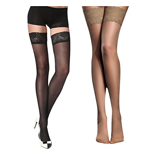 Women's Thigh High Stockings with Silicone Lace Top Sexy Silk Sheer Pantyhose 2 Pack (Black Skin)