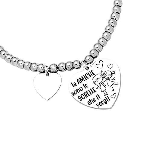 Beloved Bracciale da donna, braccialetto in acciaio emozionale - frasi, pensieri, parole con charms - ciondolo pendente - misura regolabile - incisione - argento - tema famiglia (BL6)