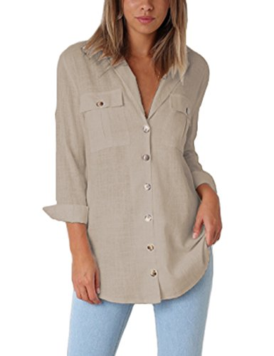GRAPENT Women's Casual Loose Roll-up Sleeve Blouse Pocket Button Down Shirts Tops M(US 8-10) Khaki