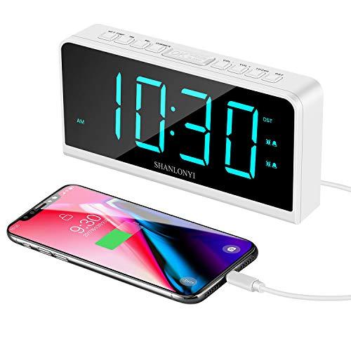 Reloj Despertador Digital, Pantalla LED de 7 Pulgadas, 12/24 H, 5 Brillos, Dual Alarma, Función de repetición, Puerto USB, Reloj de Escritorio Mesilla Dormitorio Oficina Cocina para Niños Ancianos