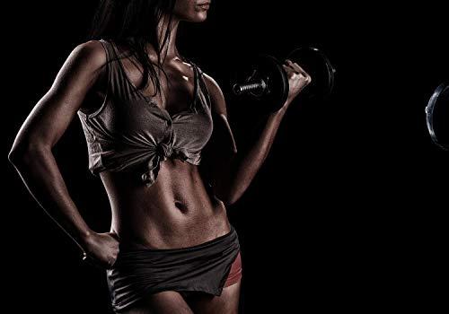 wandmotiv24 Fototapete Fitness muskulöse Frau Training S 200 x 140cm - 4 Teile Fototapeten, Wandbild, Motivtapeten, Vlies-Tapeten Sport, Frau Hantel M5689