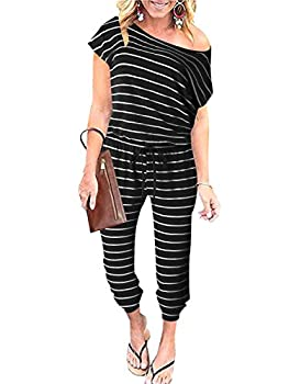 ANRABESS Women s Summer Striped Jumpsuit Casual Loose Short Sleeve One Piece Tracksuit Long Pants Rompers with Pockets 203heibai-S WFF03