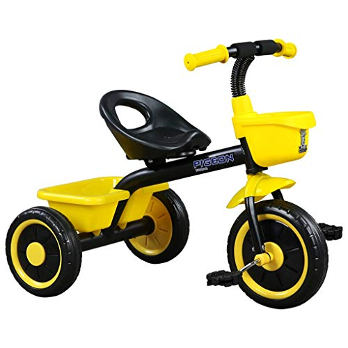 GYF Bicicleta para los niños de 1 a 3 a 6 años es una sencilla fiesta de cumpleaños infantil para llevar juguetes (color amarillo).
