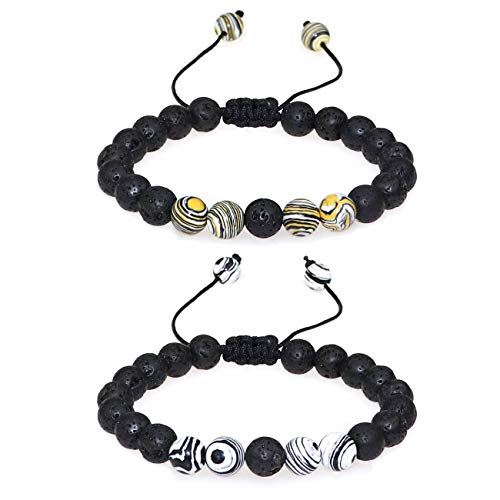 Gleamart Women Men 8mm Lava Rock Stone Aromatherapy Anxiety Essential Oil Diffuser Bracelet White with Yellow