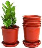 KAHEIGN 6 Piezas Macetas De Plástico, 15,5cm Espesar Macetas Contenedor De Plantas Maceta De Jardinería Interior Con Palet De Drenaje (Rojo Ladrillo)