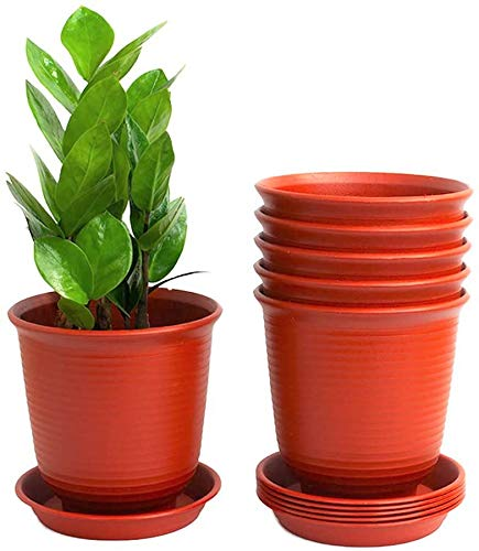 KAHEIGN 6 vasi da fiori in plastica, spessore 15,5 cm, vasi per piante da giardino interni con pallet di drenaggio, colore rosso mattone