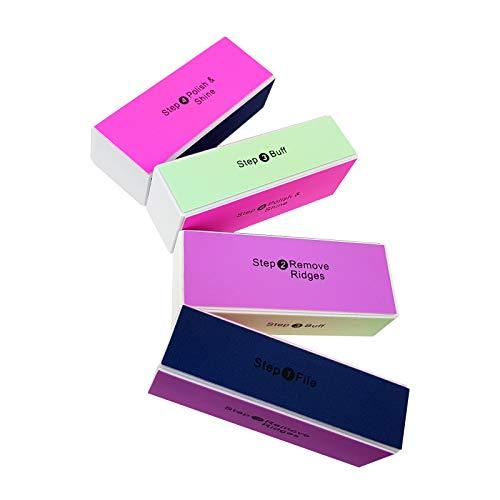WELLGRO® Nagelfeilen Block - mit je 4 verschiedenen Oberflächen, 1. Feilen, 2. Kanten entfernen, 3. Mattieren, 4. Polieren - Verschiedene Mengen wählbar, Stückzahl:4 Stück