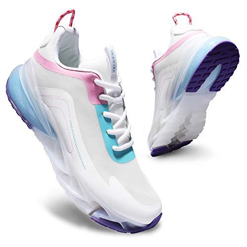 Deevike Turnschuhe Damen Laufschuhe Wanderschuhe Sneaker Sportschuhe Luftpolster Turnschuhe Walkingschuhe Weiß Blau-36