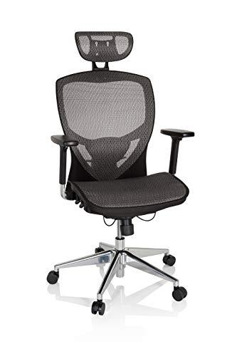 hjh OFFICE 657030 Profi Bürostuhl Venus ONE Netzstoff Schwarz/Grau ergonomischer Drehstuhl, Rückenlehne höhenverstellbar