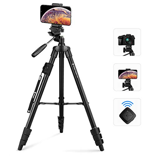 Fotopro 59' Camera Tripod, Aluminum Phone Tripod with Bluetooth Remote, GoPro Mount & Smartphone Mount, Travel Tripod for iPhone X, Portable Camera Stand for Canon, Nikon, Samsung, Olympus