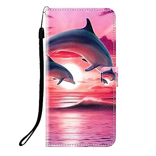 Sunrive Funda Compatible con BQ Aquaris X5 Plus, Cuero Artificial Sintético Protectiva Carcasa Resistente Cierre Magnético,en Folio,Soporte Plegable(Q delfín) + 1x Lápiz óptico
