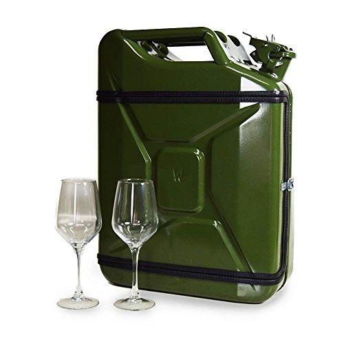 JerryCan Kanister Mobile-Wein-Bar Barschrank inkl. 2 Weingläser, ca. 45 x 35 x 18 cm
