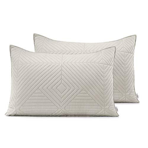 AmeliaHome 2 Kissenbezüge 50X70 cm beige Cappucino Kissenhüllen Set Ultrasonic Steppung Polyester Softa