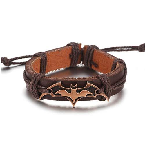 Batman Bracelet En Cuir Pour Hommes/Femmes À La Main Chaîne Perles Charme Accessoires Bracelets Animaux En Cuir