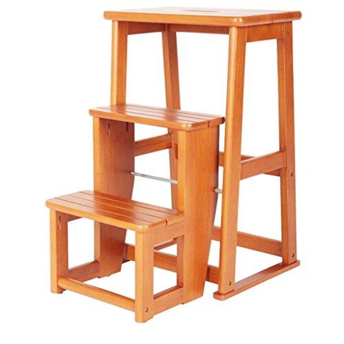 LRZLZY Massivholz dreistöckigen Treppenstuhltritthocker mit doppeltem Verwendungszweck Klappleiter Haushaltsholzleiter Innen dreistufiges Ladder Stabilität und Sicherheit
