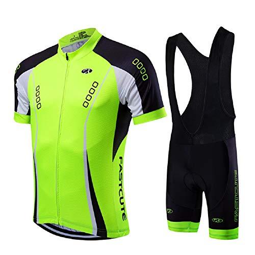 21Grams Conjunto de Ropa de Ciclismo para Hombre Maillot Ciclismo Culotte Ciclismo Top Camisetas de Ciclismo Bicicleta MTB Secado Rápido Transpirable (Verde Claro, L)