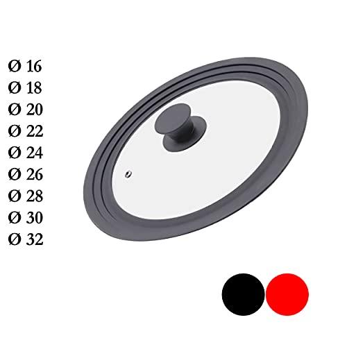 M.S.N Tapas de cristal universales de 24/26/28 cm, con válvula de salida y borde de silicona, color gris, 24/26/28