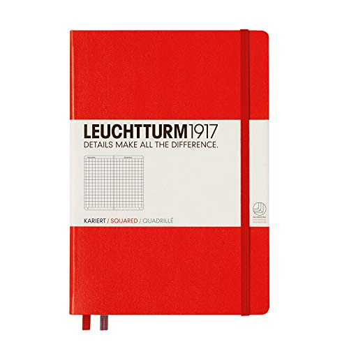 LEUCHTTURM1917 312564 Notizbuch Medium (A5), Hardcover, 251 nummerierte Seiten, Rot, kariert