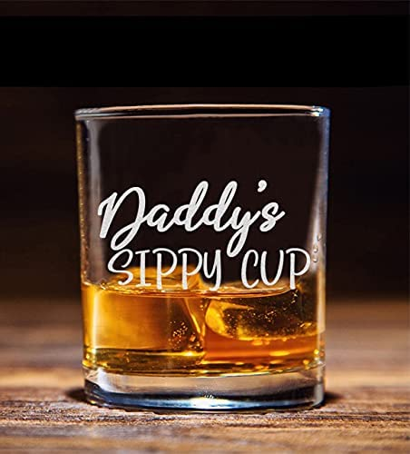 Daddy's Sippy Cup Whiskey Glass - Funny Birthday Gift for Dad
