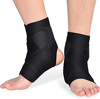DOACT Ankle Brace Support with PE Board Strength Stabilize for Men and Women, Adjustable Neoprene Thin Compression Brace for Ankle Sprain, Arthritis, Strain, Fatigue 2 Pack
