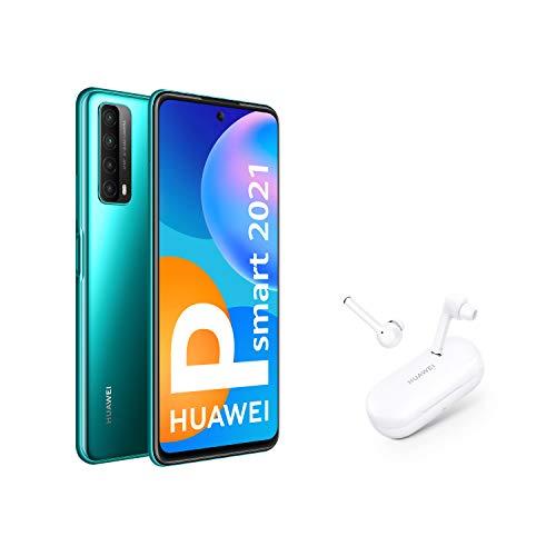 HUAWEI P smart 2021 + FreeBuds 3i - Smartphone de 6,67 pulgadas Full HD, 4GB de RAM y 128 GB de ROM, 5000 mAh de batería, Cuádruple cámara 48 MP, verde [Versión ES/PT]