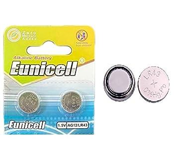 2 x Eunicell AG12 / LR43 / G12 / SR43W 1.5v Alkaline Cell Battery Batteries New