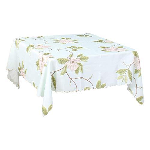 DyniLao mantel cuadrado de lino y algodón de 55 x 55 pulgadas mantel con estampado de flores para cocina, cena, boda, azul pálido