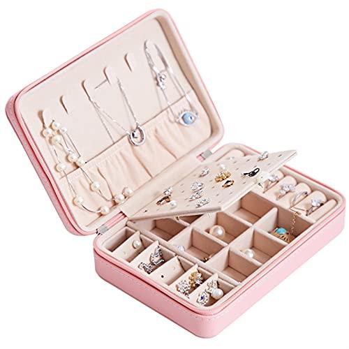 RWEAONT Caja de Organizador de joyería Multifuncional de Terciopelo de Doble Capa PU Pendientes de Cuero Caja de Pantalla Caja de joyería para Mujer (Color : Pink 17x12x5cm)