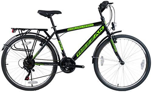 Rezzak 26 Zoll Fahrrad Herren Fahrrad Jungenfahrrad Herren Kinderfahrrad City Bike 21 Gang Schwarz Grün NEU -048