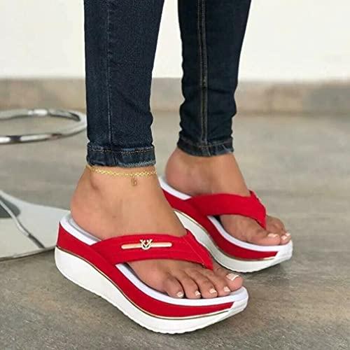 Tallas Grandes 2021 Verano Personalidad Europea Y Americana Sandalias Acolchadas De Espiga Acolchadas Casuales De Tacón Medio para Mujer Rojo