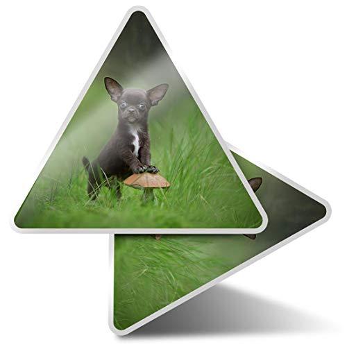 2 pegatinas triangulares de 7,5 cm – lindo negro Chihuahua Forest Dog Puppy Fun Calcomanías para ordenadores portátiles, tabletas, equipaje, reserva de chatarra, neveras #44759