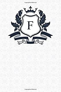 F: Royal Blue Monogram Letter F Notebook Alphabetical Journal for Writing & Notes, Personalized Diary Monogrammed Gift for Men & Women (6x9 110 Ruled Pages Matte White Cover)