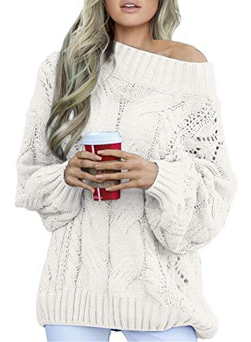 Aleumdr Strickpullover Damen Oversize Pullover Grobstrick Winterpullover Strickpulli Sweater lässig Outwear Casual elegant einfarbig S-XXL, Weiß, Small(EU34-36)