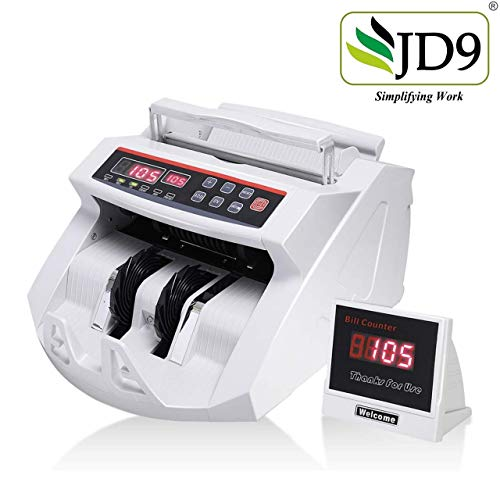 JD9 Note Counting/Currency Counting Machine Note Counting Machine with UV/MG Counterfeit Notes Detection Function and External Display (Counting Speed - 1000 Notes/Min) (White)