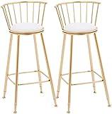genneric Barstools Pub Silla de café de la Barra del Restaurante Silla, sillas de Cocina con Patas metálicas, a evacuar el intestino de Asiento con tapizado de Ronda (Size : Set of 2)