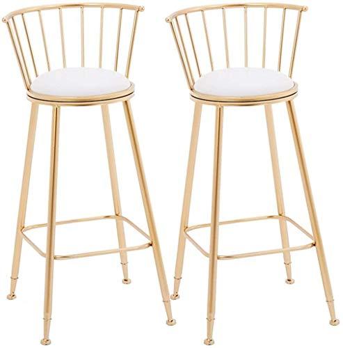 SYLOZ Barstools Pub Silla de café de la Barra del Restaurante Silla, sillas de Cocina con Patas metálicas, a evacuar el intestino de Asiento con tapizado de Ronda (Size : Set of 2)