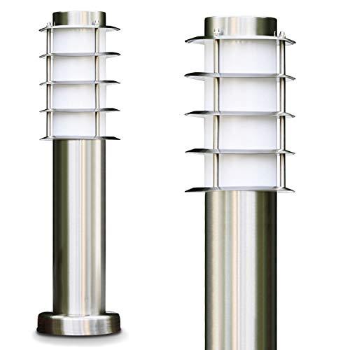 Sockelleuchte Tunes - Pollerleuchte aus Edelstahl – 45cm hoch – ebenerdige Stehlampe - schmale Wegeleuchte für den Garten, das Beet oder den Eingangsbereich - Stehlampe außen – 1xE27-Fassung – 40W