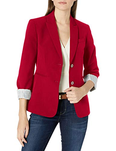 Tahari ASL Women's Two Button Striped Roll Sleeve Jacket, Cherry Red, 6