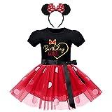 FYMNSI Vestido de fiesta de cumpleaños para niños pequeños, de manga corta, con tutú, de lunares, de princesa, con cinta para la cabeza, para 1-6 años, negro + rojo, 18-24 Meses