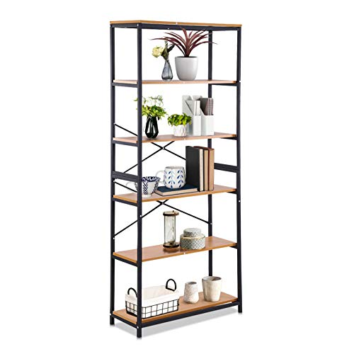 Ejoyous Living Room Bedroom Bookcase Bookshelf Unit, 5 Tier Tall Free Standing Shelf Rack Book Organiser, Simple Industrial Style Storage Stand for Home Living Room Bedroom Office 80 * 30 * 180 cm