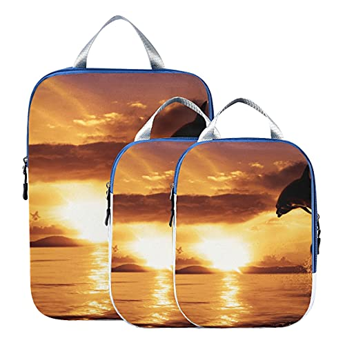 Accesorios de viaje Un delfín en el aire de Sunset Organizadores de maletas para viajes Cubos de embalaje de viaje expandibles Juego para equipaje de mano, viaje (juego de 3)