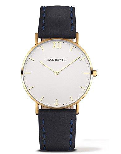 Paul Hewitt Reloj analogico para Unisex de Cuarzo con Correa en Piel PH-SA-G-Sm-W-11M