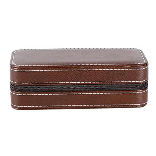 Mengmengda Caja de almacenamiento portátil de cuero de la PU de la joyería del collar del anillo del organizador del sostenedor portátil de la PU de la