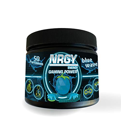 NRGY Gaming Power Pulver - 200g 50 Portionen - Blue Wave Blue Raspberry - eSports Energy Drink Pulver Gamer Booster - Game Booster für mehr Konzentration