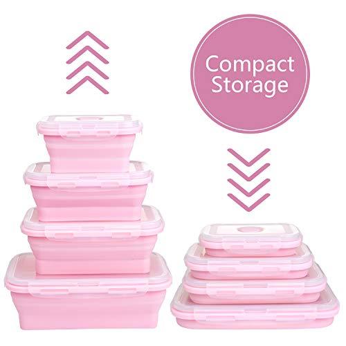 WolinTek Set de 4 recipientes de Silicona Plegable,Fiambrera de Silicona Plegable Silicona Recipientes de Silicona Plegable Almacenamiento de Alimentos caja de almuerzo (rosado)